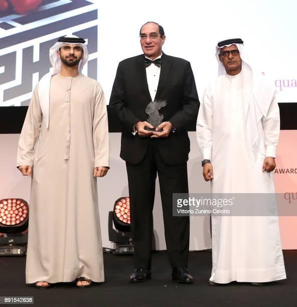 Muhr Emirati Jury President Magdi Ahmed Ali onstage with HH Sheikh Mansoor bin Mohammed bin Rashid Al Maktoum and DIFF Chairman Abdulhamid Juma at...