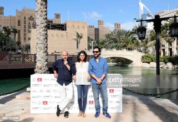Muhr Short and Gulf Short Jury President Gilles Marchand and jury members Ahd Kamel and Mehdi Barsaoui attend the Jury photocall on day seven of the...