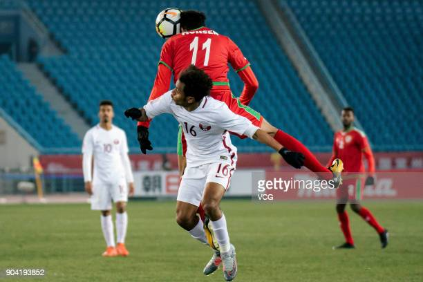 Muhsen Al Ghassani of Oman heads the ball during the AFC U23 Championship Group A match between Oman and Qatar at Changzhou Olympic Sports Center on...