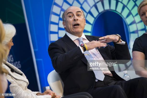 Muhtar Kent CEO of Coca Cola speaks during a panel discussion on 'Gender and Macroeconomics What's Next' during the the 2017 IMF Spring Meetings in...