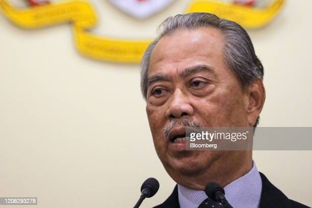 Muhyiddin Yassin Malaysia's prime minister speaks during a news conference in Putrajaya Malaysia on Monday March 9 2020 Malaysia's prime minister...