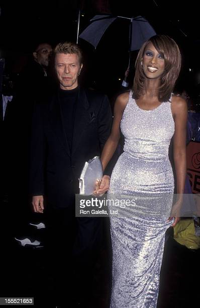 Muician David Bowie and model Iman attend Nineth Annual Essence Awards on April 26 1996 at the Paramount Theater in New York City