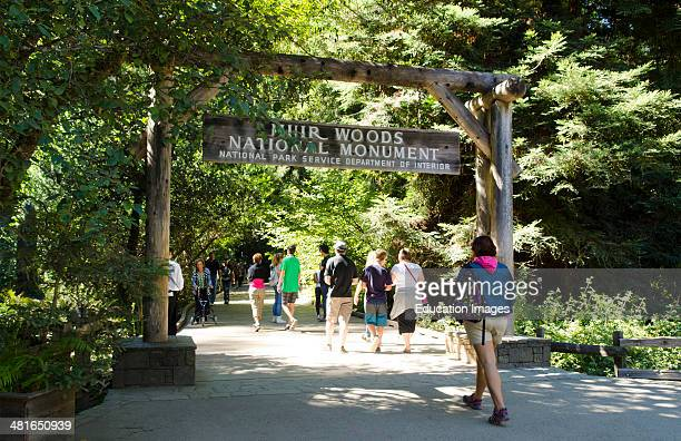 Muir Woods California CA above San Francisco entrance sign with wonderful giant Redwoods and tourists in woods