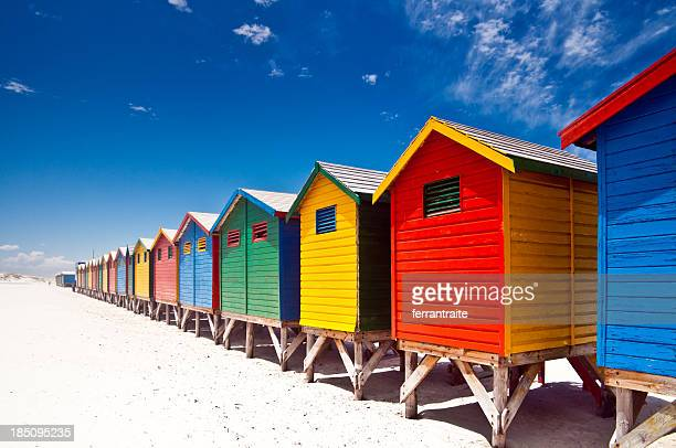 muizenberg beach cape town - shack stock pictures, royalty-free photos & images
