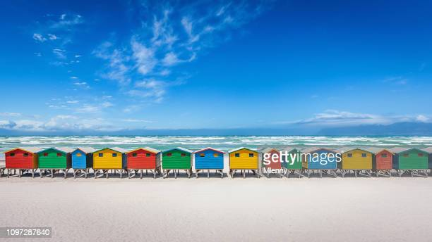 muizenberg panorama colorful beach huts cape town south africa - south african culture stock photos and pictures