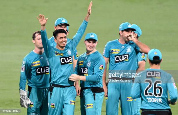 Mujeeb Ur Rahman of the Heat celebrates taking the wicket of Scott Bolland of the Hurricanes during the Big Bash League match between the Hobart...