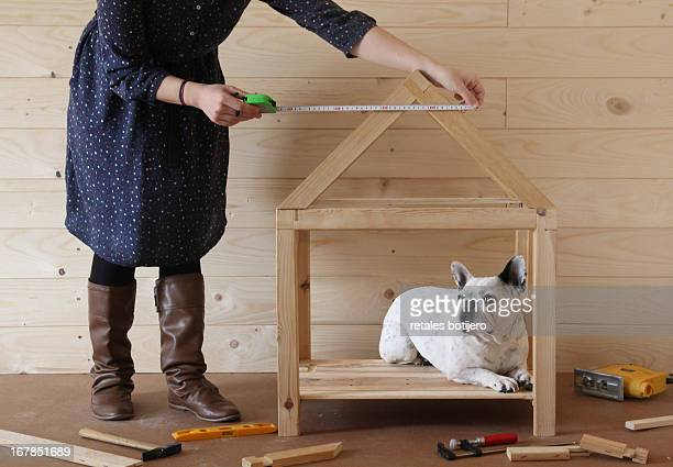 Mujer joven construyendo casa de madera para perro