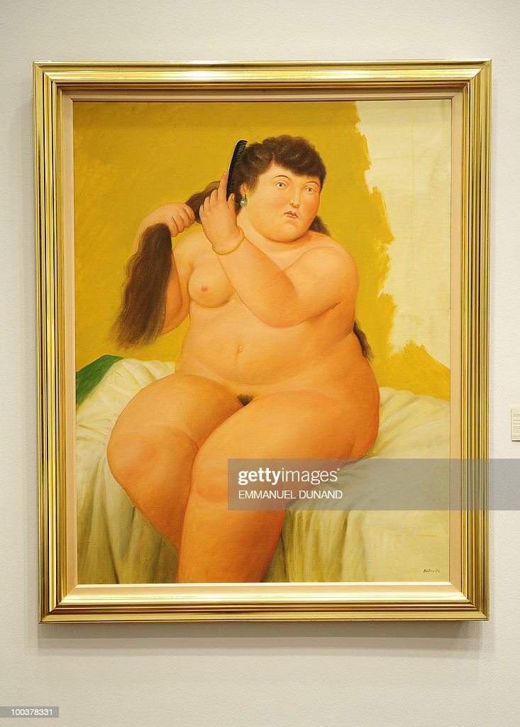 'Mujer Sentada en la Cama' by Fernando Botero is on display during a preview of Christie's Latin American Art auctions, May 24, 2010 in New York. Christie's will hold its Latin American Art auctions on May 26 and 27, 2010. AFP PHOTO/Emmanuel Dunand