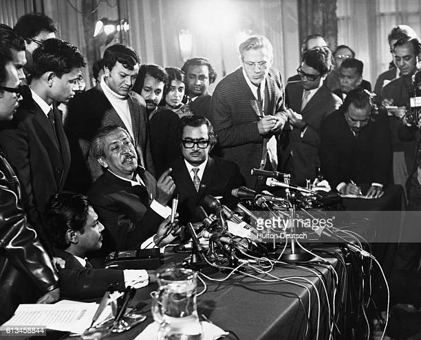 Mujibur Rahman popularly known as Sheikh Mujib gives a press conference at London's Claridge's Hotel after being released from West Pakistan where he...