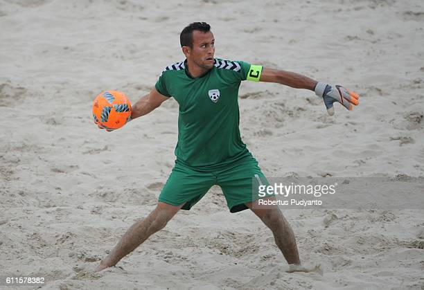 Mujtaba Haidary Gh of Afghanistan in action during Beach Soccer Men's team semi final match between Afghanistan and Oman on day seven of the 5th...