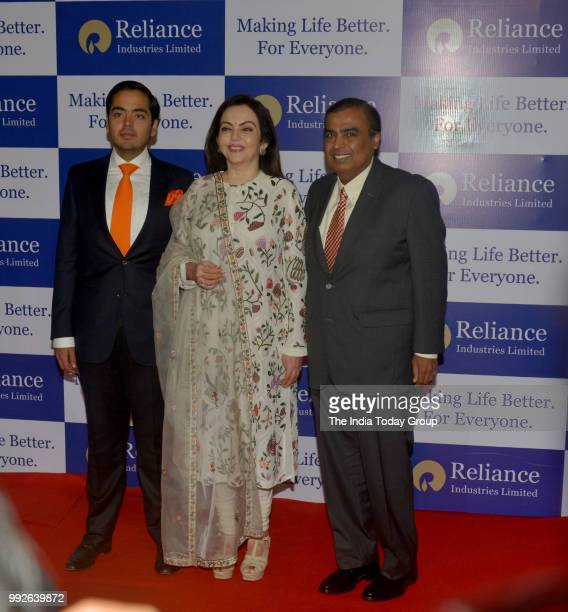 Mukesh Ambani Anant Ambani and Nita Ambani at Reliance Industries' 41st Annual General Meeting in Mumbai