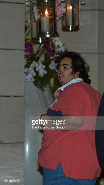 Mukesh Ambani and Nita Ambani's son Anant at his cousin Nayantara's engagement party in Antilla in Mumbai on Saturday January 5 2013