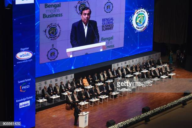 Mukesh Ambani chairman managing director and largest shareholder of Reliance Industries Limited addressing at the Bengal Global Business Summit on...