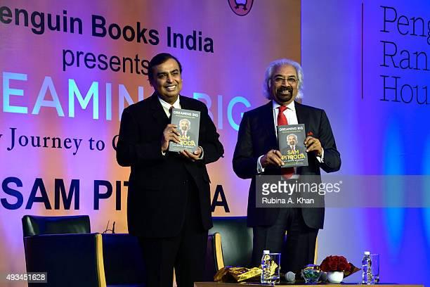 Mukesh Ambani Chairman Managing Director of Reliance released telecom inventor and global entrepreneur Sam Pitroda's autobiography Dreaming Big My...