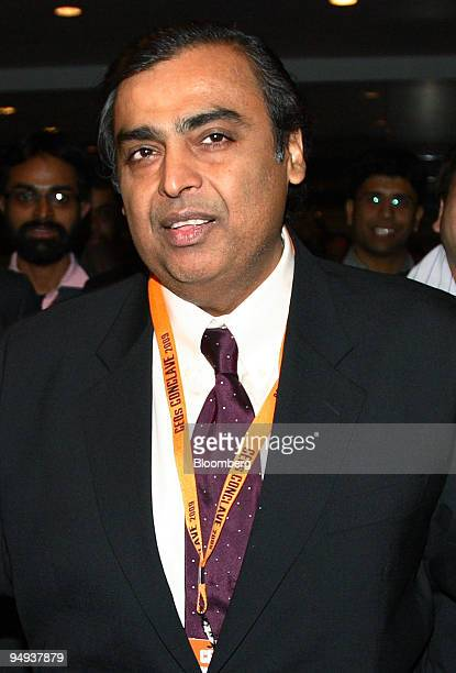 Mukesh Ambani chairman of Reliance Industries Ltd arrives at Petrotech2009 8th International Oil Gas Conference and Exhibition in New Delhi India on...