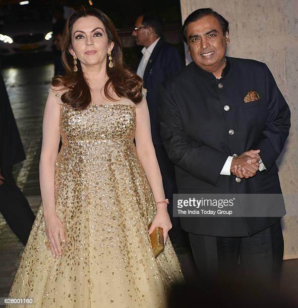 Mukesh Ambani CMD Reliance Industries Ltd along with his wife Nita Ambani during the birthday celebrations of fashion designer Manish Malhotra in...