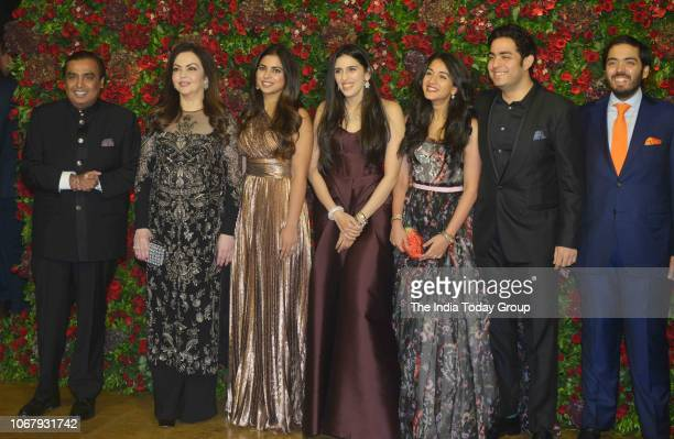 Mukesh Ambani Nita Ambani Isha Ambani Anant Ambani and Akash Ambani at Ranveer Singh and Deepika Padukones reception in Mumbai