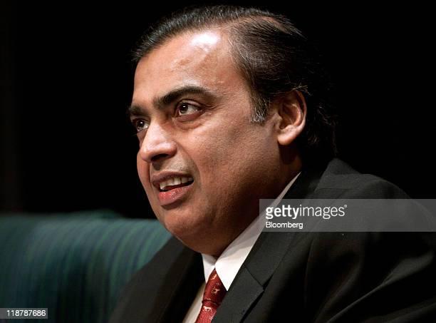 Mukesh D Ambani chairman of Reliance Industries Ltd speaks at the Ajay Mushran Memorial Lecture in New Delhi India on Sunday July 10 2011 Ambani said...