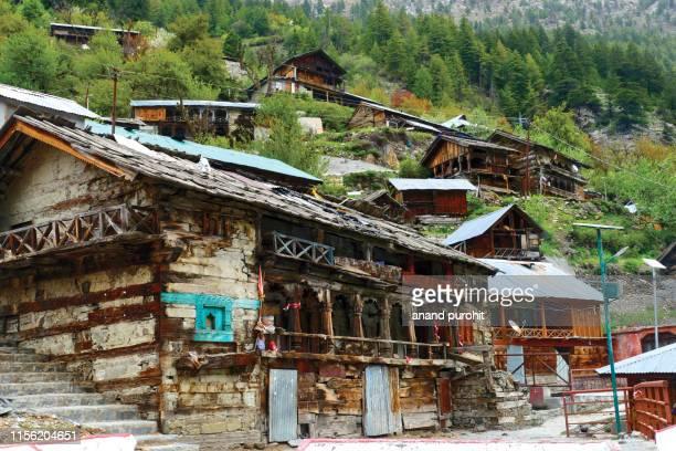 mukhba village or mukhwas village, near harsil, uttarakhand, india - uttarakhand stock pictures, royalty-free photos & images