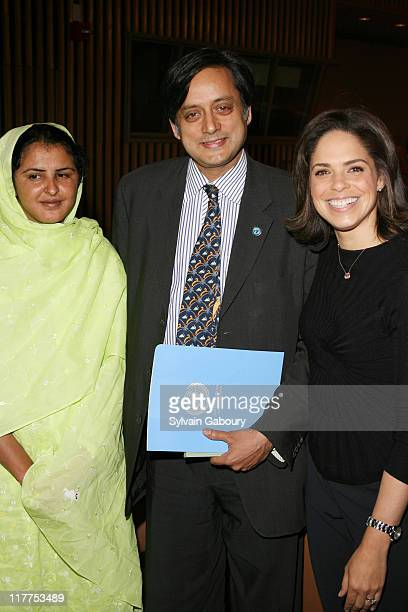 Mukhtar Mai Shashi Tharoor and Soledad O'Brien during The Virtue Foundation hosted a Mukhtar Mai interview by CNN's Soledad O'Brien at United Nations...