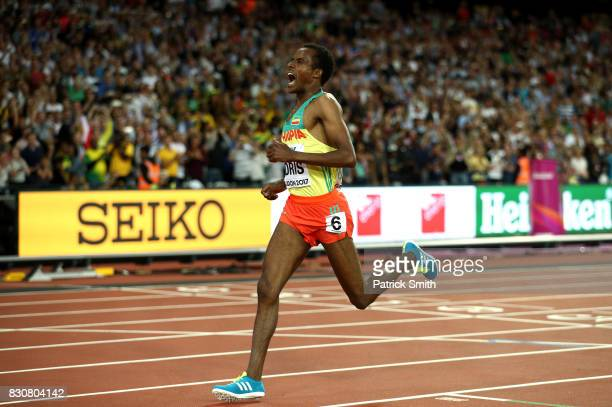 Muktar Edris of Ethiopia after crossing the finish line to win gold in the Men's 5000 Metres final during day nine of the 16th IAAF World Athletics...