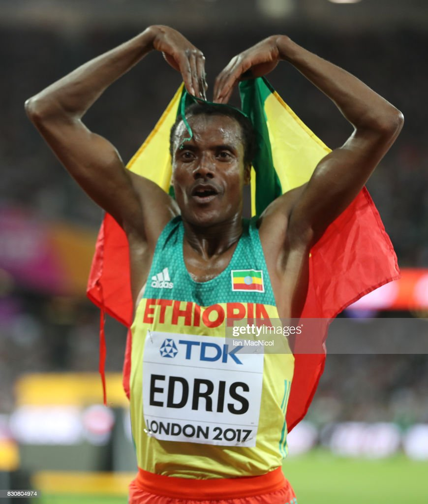 Muktar Edris of Ethiopia celebrates after he wins the Men's 10000m final during day nine of the 16th IAAF World Athletics Championships London 2017 at The London Stadium on August 12, 2017 in London, United Kingdom.