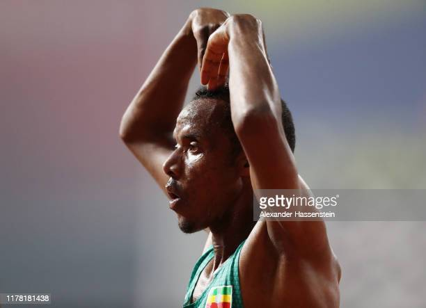 Muktar Edris of Ethiopia celebrates winning gold in the Men's 5000 metres final during day four of 17th IAAF World Athletics Championships Doha 2019...