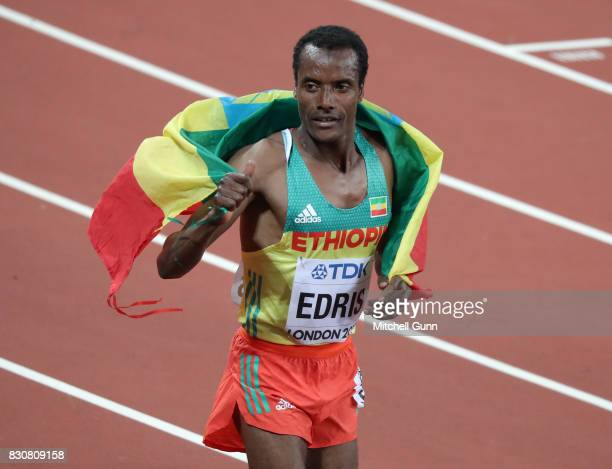 Muktar Edris of Ethiopia celebrates winning the men's 5000 metres final during day nine of the 16th IAAF World Athletics Championships London 2017 at...