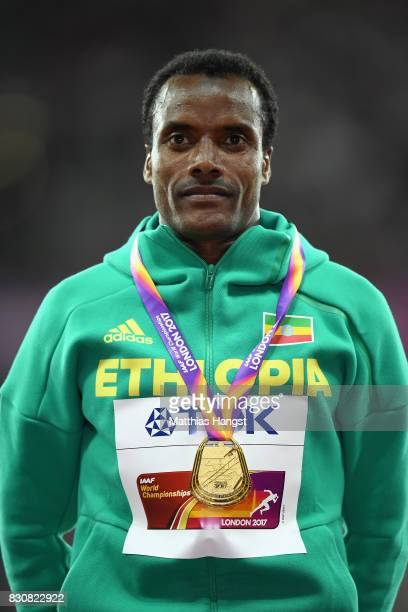 Muktar Edris of Ethiopia gold poses with his medal for the Men's 5000 Metres final during day nine of the 16th IAAF World Athletics Championships...