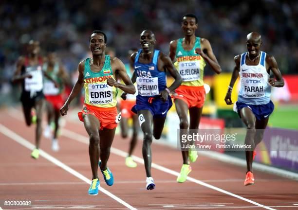 Muktar Edris of Ethiopia Mohamed Farah of Great Britain and Paul Kipkemoi Chelimo of the United States cross the finishline in the Men's 5000 Metres...