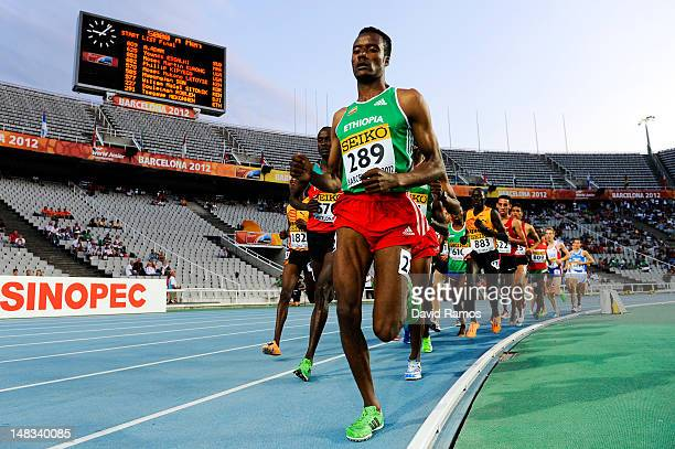 Muktar Edris of Ethiopia on his way to winning the gold medal on the Men's 5000 metres FInal on the day five of the 14th IAAF World Junior...
