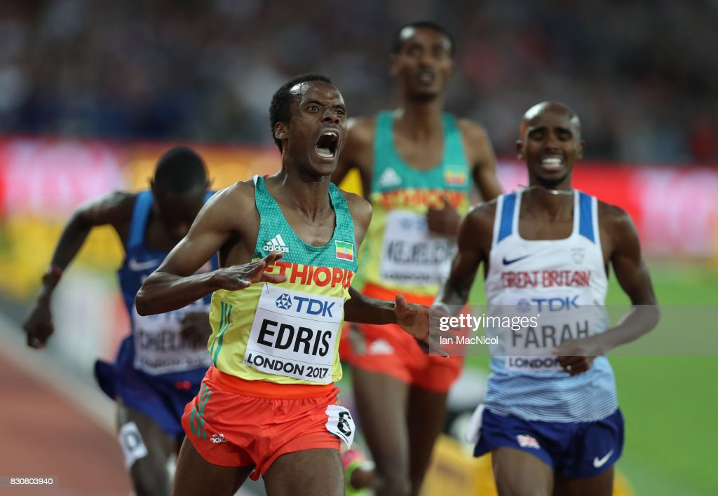 Muktar Edris of Ethiopia wins the Men's 10000m final during day nine of the 16th IAAF World Athletics Championships London 2017 at The London Stadium on August 12, 2017 in London, United Kingdom.
