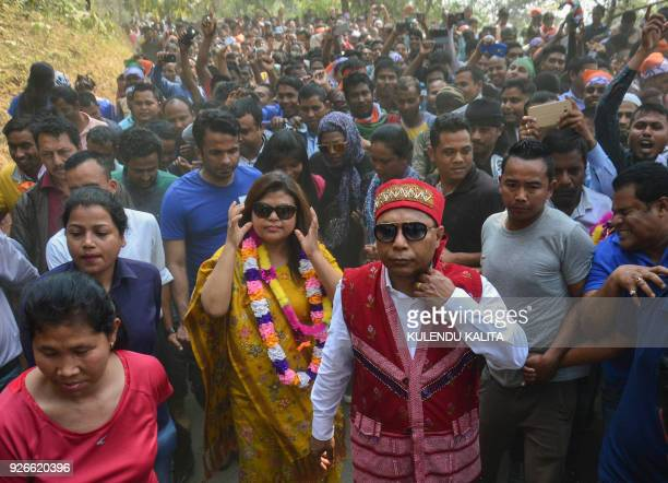 Mukul Sangma Congress party candidate and Chief Minister of Meghalaya state and his wife Dikkanchi Shira also a candidate for the Meghalaya state...