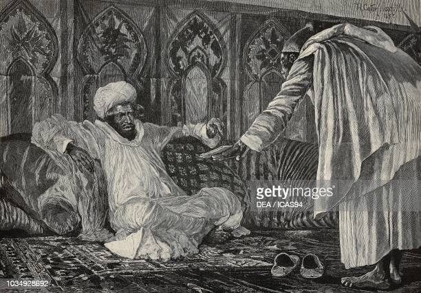 Mulai Hassan, the Sultan of Morocco, engraving after an illustration by R Caton Woodville, from The Illustrated London News, No 2532, October 29,...