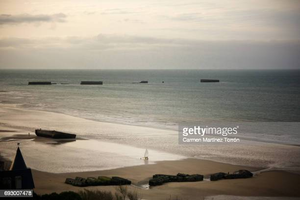 Mulbarry in Gold Beach. Arromanches-les-Bains, Normandy, France