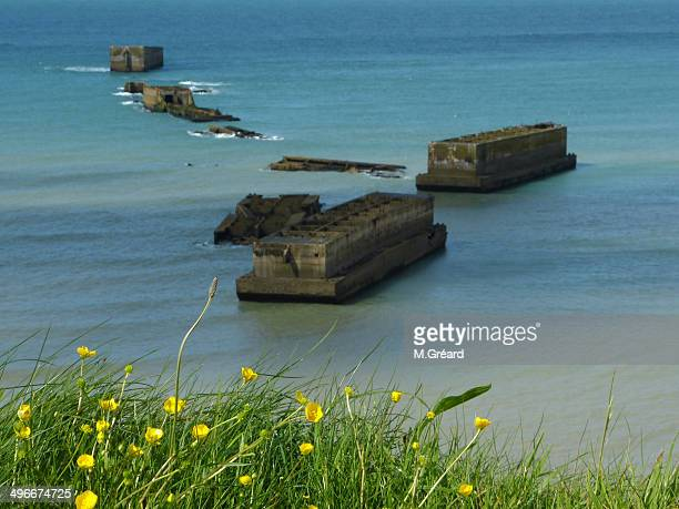 mulberry artificial harbour - arromanches stock pictures, royalty-free photos & images