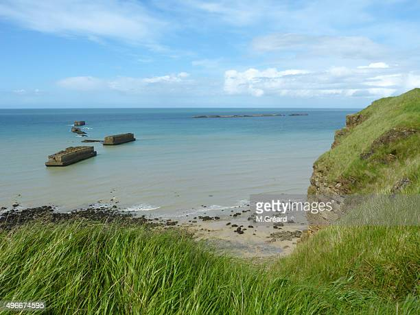 mulberry b artificial harbour (world war ii) - arromanches stock pictures, royalty-free photos & images