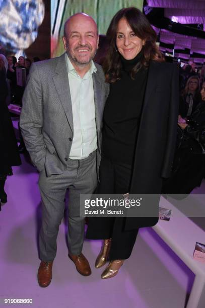 Mulberry CEO Thierry Andretta and Alison Loehnis attend the Mulberry 'Beyond Heritage' SS18 Presentation during London Fashion Week February 2018 at...