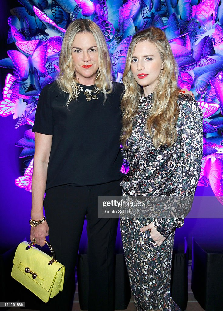 Mulberry Creative Director Emma Hill (L) and actress Brit Marling attend the Mulberry Autumn Winter '13 celebration dinner at Chateau Marmont on March 21, 2013 in Los Angeles, California.