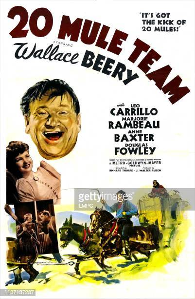 20 Mule Team poster US poster right top Wallace Beery Anne Baxter Marjorie Rambeau 1940