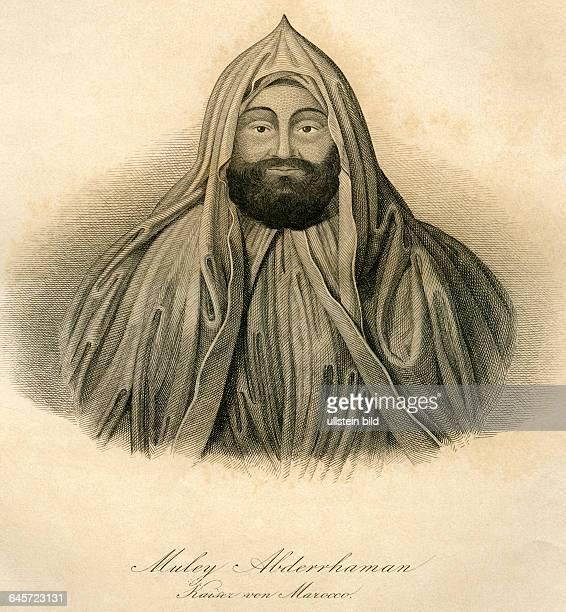 Muley Abderrhaman , Kaiser von Marocco / Sultan von Marocco / Mulai Abd al - Rahman Porträt , lebte von 1778 bis 1859 , Stahlstich , um 1850 . Muley...