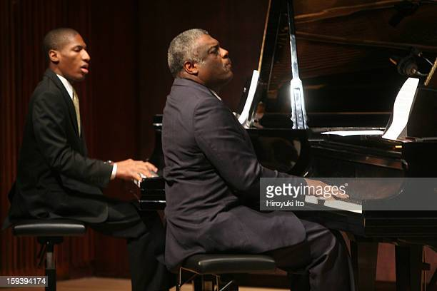Mulgrew Miller right and Jonathan Batiste performing in Blues in the Church at the Juilliard School's Paul Hall on Wednesday night October 1 2008