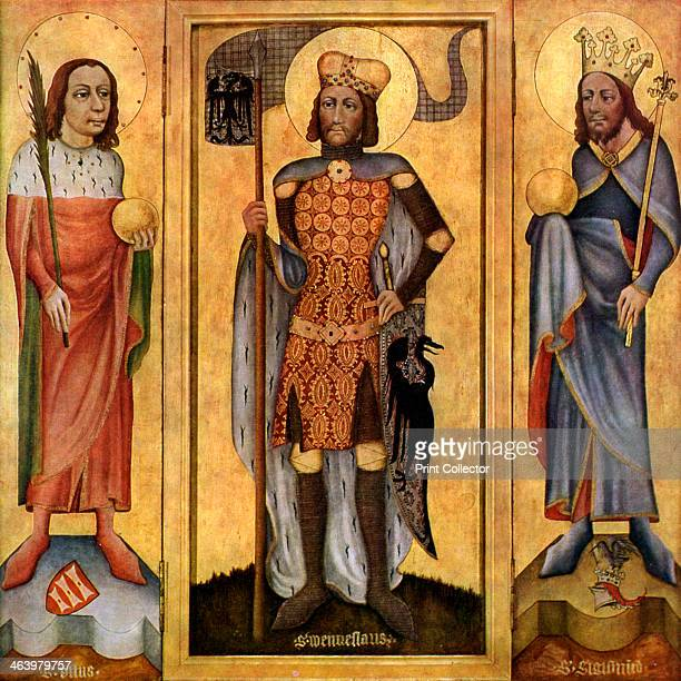 Mulhouse Altarpiece, open, c1385 . St Vitus, St Wenceslas and St Sigismund. Found in the collection of The State Gallery, Stuttgart. A print from...