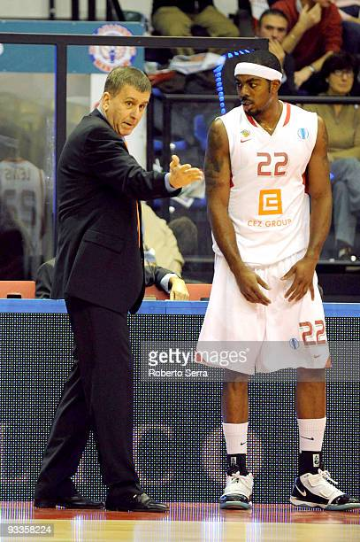 Muli Katzurin head coach of CEZ Nymburk and Ron Lewis of CEZ Nymburk in action during the Eurocup Basketball Regular Season 20092010 Game Day 1...