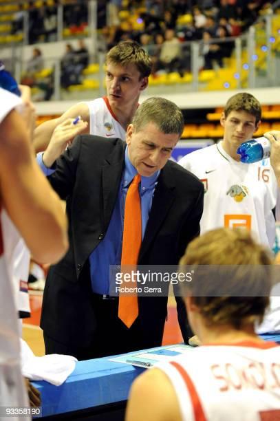 Muli Katzurin head coach of CEZ Nymburk in action during the Eurocup Basketball Regular Season 20092010 Game Day 1 between Lauretana Biella vs CEZ...