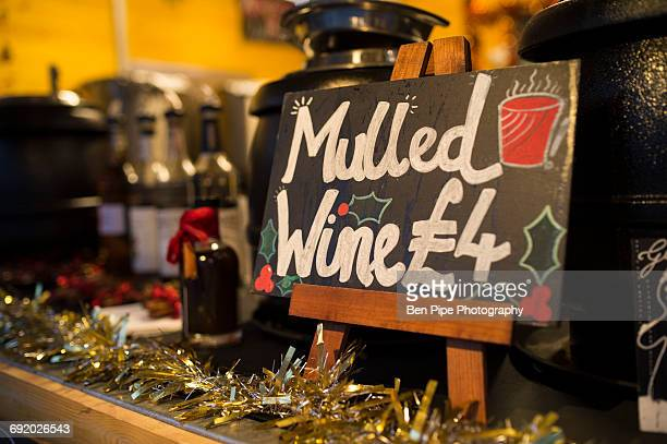 Mulled wine Christmas market stall, South Bank, London, UK