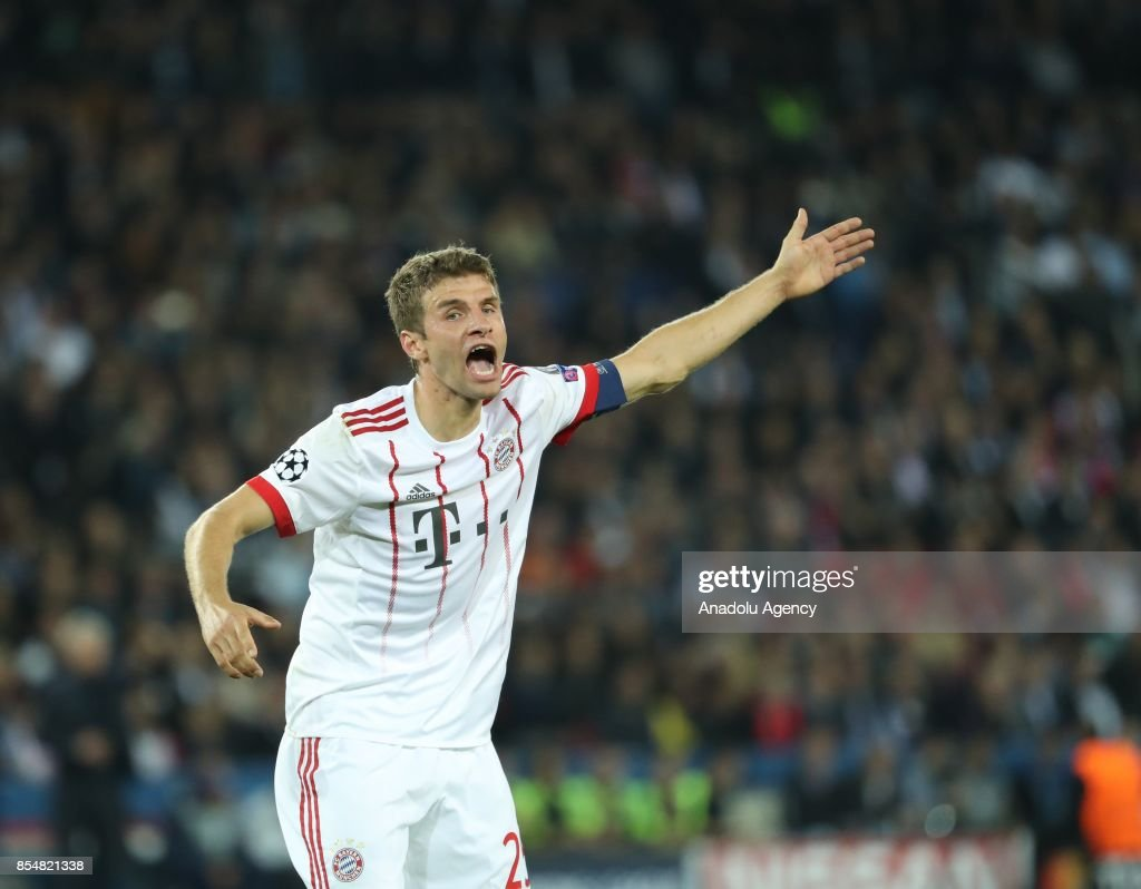 Muller of Bayern Munich reacts during the UEFA Champions League Group B match between Paris Saint-Germain (PSG) and Bayern Munich at Parc des Princes Stadium in Paris, France on September 27, 2017.