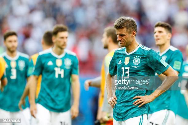 Muller of Germany reacts after losing the 2018 FIFA World Cup Russia Group F match against Korea Republic at the Kazan Arena in Kazan Russia on June...