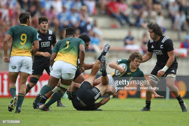 Muller Uys of South Africa is tackled the New Zealand defence during the World Rugby via Getty Images Under 20 Championship 3rd Place play off match...