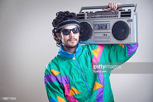 mullet man with 1980's-1990's fashion style - hip hop music stock pictures, royalty-free photos & images